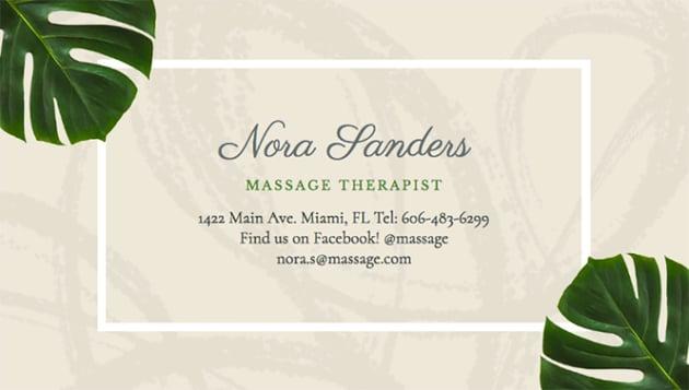 Massage Therapist Business Card Maker