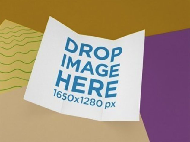 Trifold Brochure Template Floating Over a Multicolor Surface