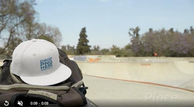 Biker Boy in a Skatepark Leaving His Snapback Hat Video Mockup on His Backpack