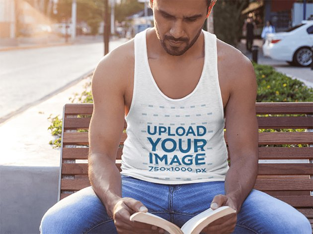 Man on the Street Sitting on a Bench Tank Top Mockup
