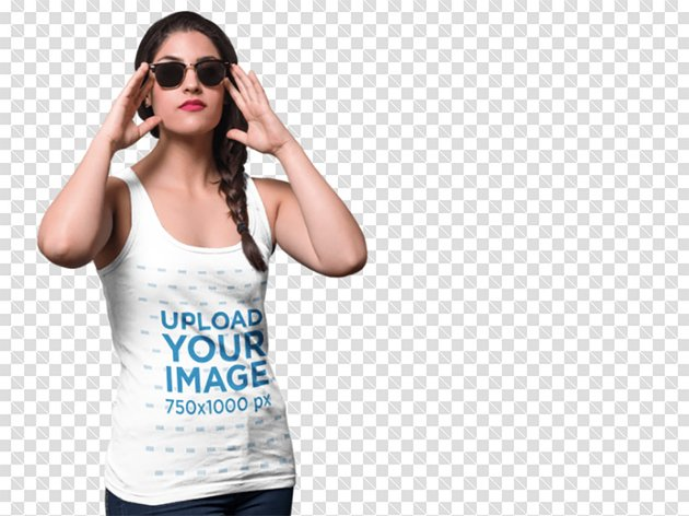 PNG Mockup of a Young Woman Wearing a Tank Top and Sunglasses