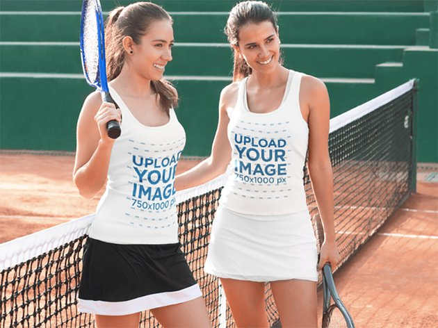 Two Women Wearing Different Tank Tops Template While at a Tennis Court