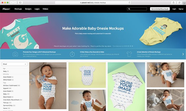 Navigate to Placeits Baby Onesie Mockup Page