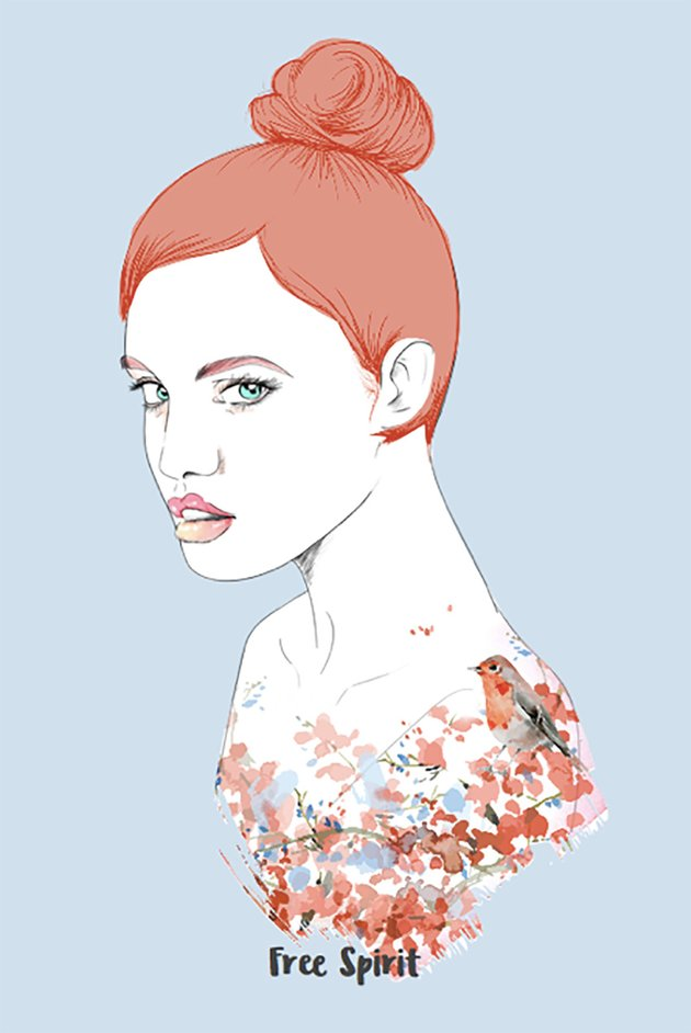 T-Shirt Template of Woman with Little Bird Design
