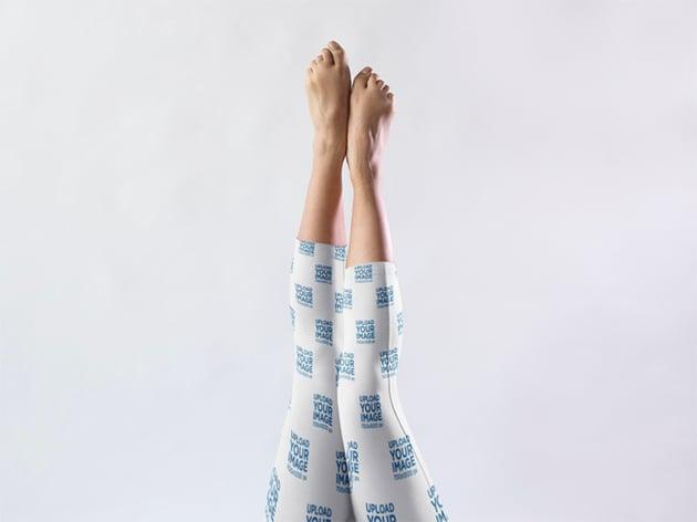 Extended Legs Against a White Background Wearing Short Leggings Mockup