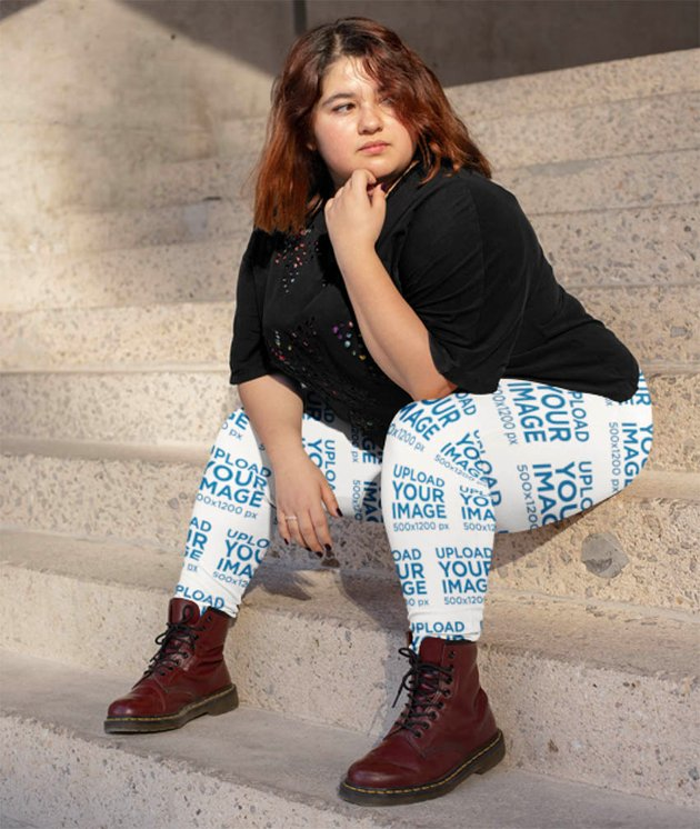 Plus Size Leggings Mockup of a Woman Sitting at an Urban Stairway
