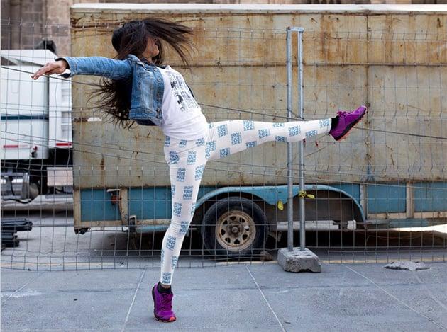 Woman Dancing on the Street While Wearing Leggings Mockup
