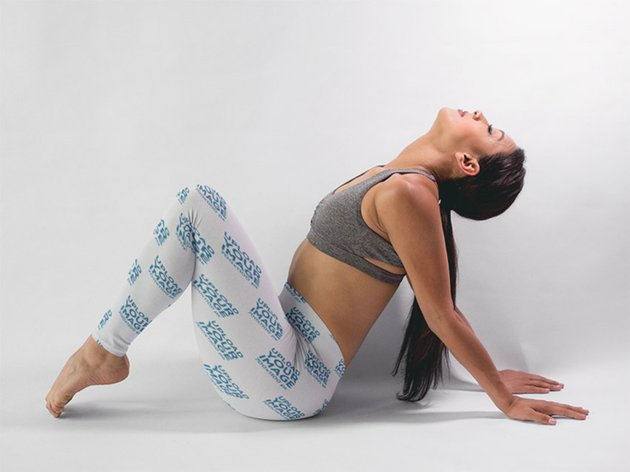 Woman in a Yoga Pose Wearing Sports Leggings Mockup
