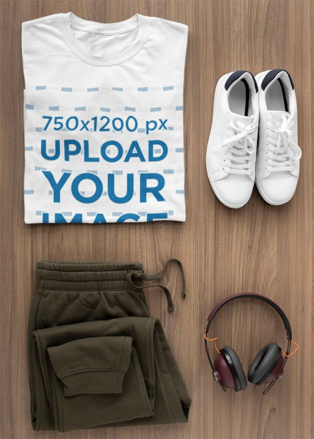 T-Shirt Mockup of a Flat Lay Outfit for Men