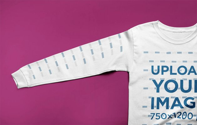 Long Sleeve T-Shirt Mockup Lying Flat on a Solid Color Surface