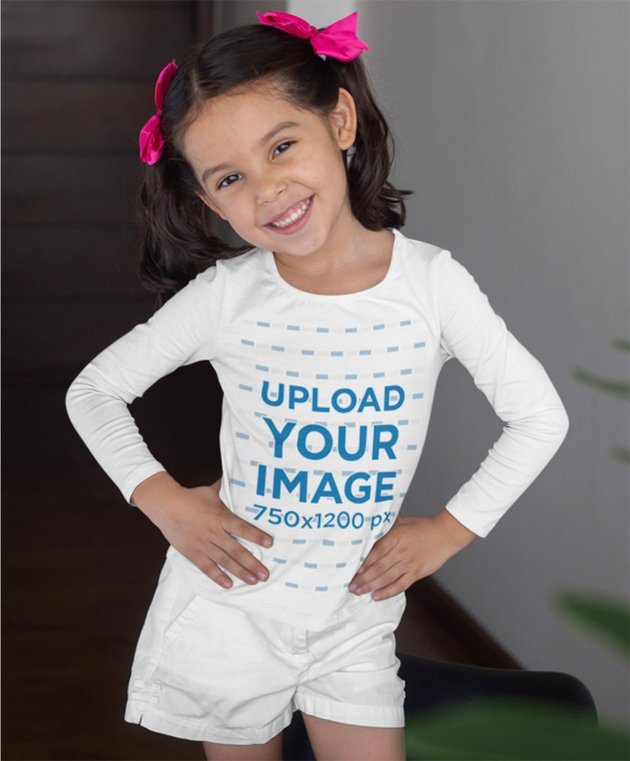 Long Sleeve Tee Mockup Featuring a Little Girl Posing at Her House