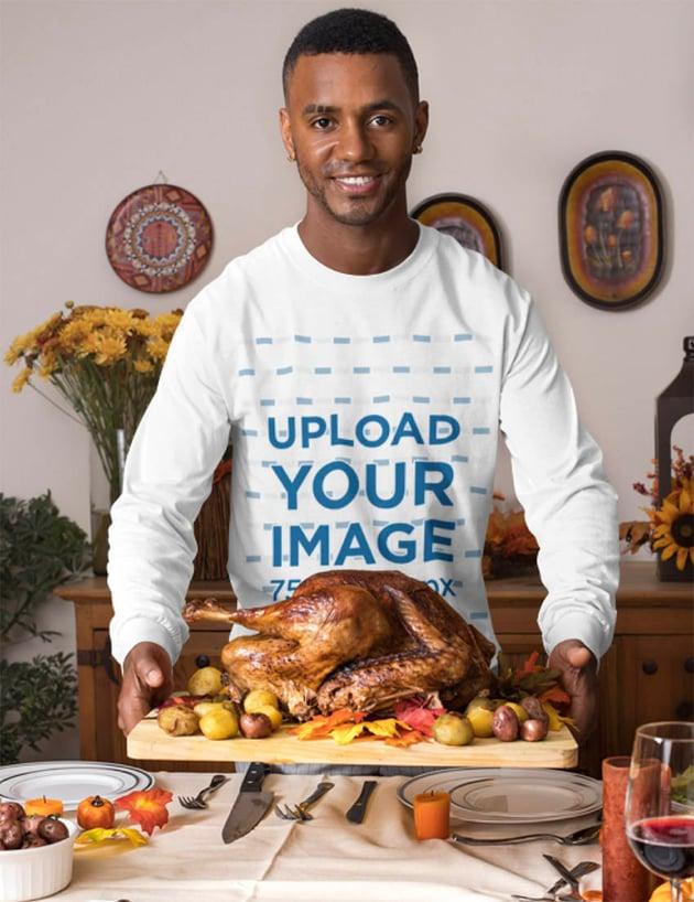 Long Sleeve Tee Mockup of a Man Having a Thanksgiving Dinner