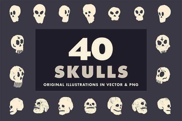 40 Illustrated Skulls