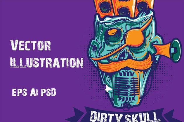 Dirty Skull Illustration Vector