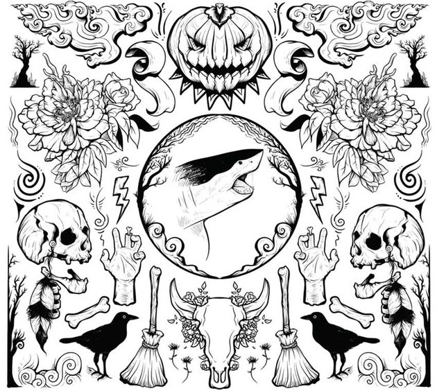 Hand Drawn Halloween Vector Illustration Elements