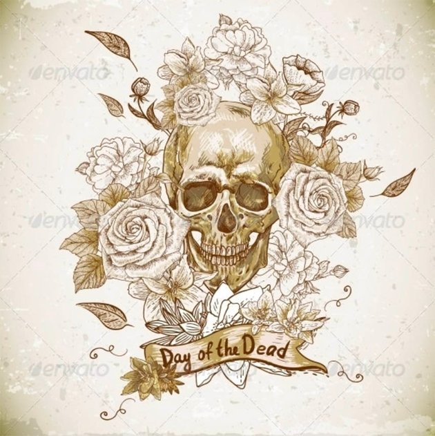 Skull with Roses Day of the Dead