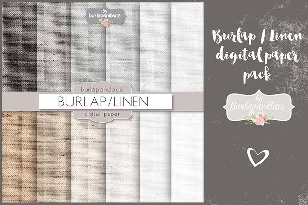 Burlaplinen Grey Digital Paper Pack