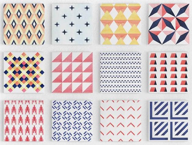 Geometry Watercolor Vector Patterns for Digital Scrapbooking