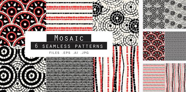 Mosaic Seamless Vector Patterns Set of 6