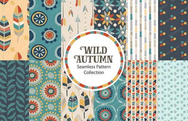 Wild Autumn Seamless Vector Pattern Collection