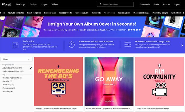 Go to Placeit  Designs  Album Cover Maker