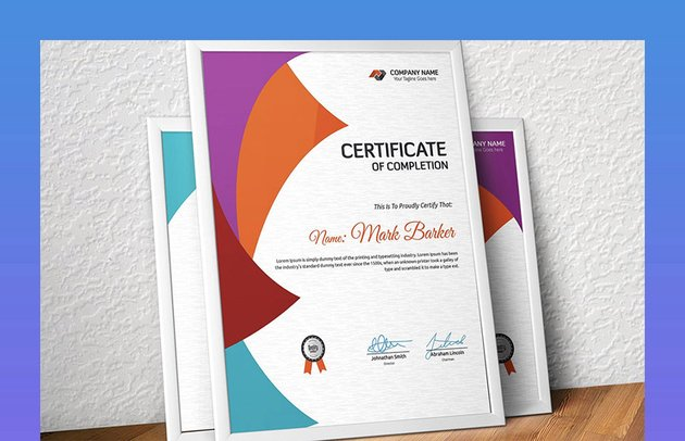 Colourful Certificate of Completion