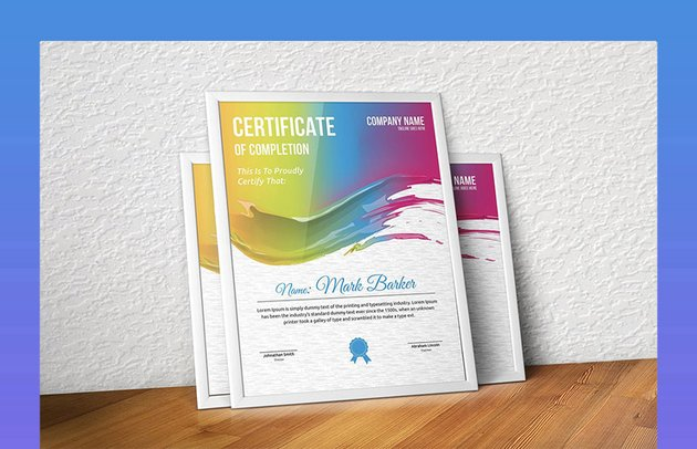 Certificate with Paint Effect