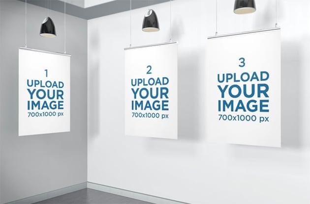Mockup of Three Posters Inside a Minimalistic Scenario