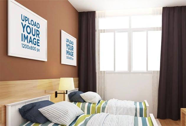 Mockup of Two Decorative Art Prints over a Bedroom Wa