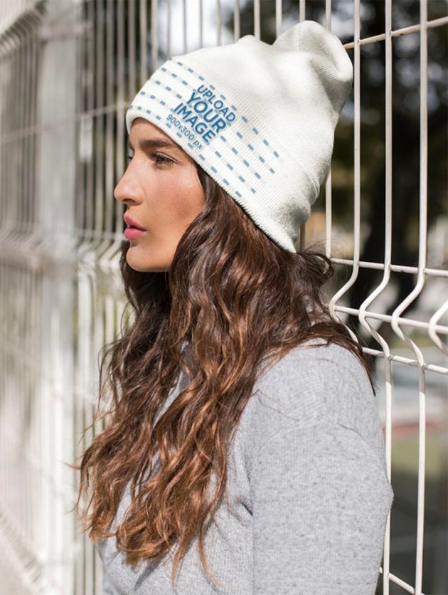 Beanie Mockup Featuring a Serious Brunette Woman