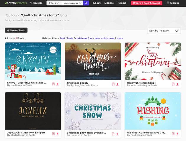 Unlimited Christmas Font Downloads at Envato Elements