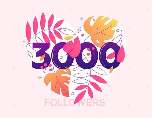 3000 Followers Heart Vector Image