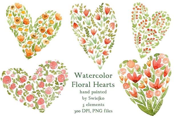 Watercolor Floral Heart Art