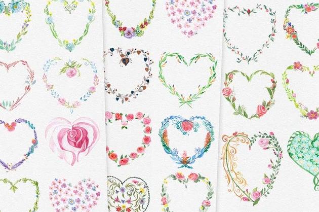 Watercolor Floral Heart Vector Art