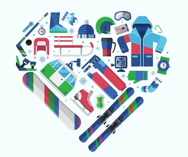 Love Winter Sports Heart Vector Image