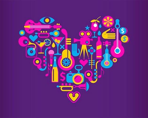 4 Disco Party Heart Shape Vector Designs