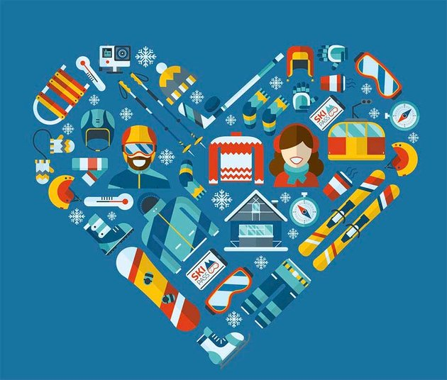 Love Winter Activity Flat Heart Icons Vector Illustration