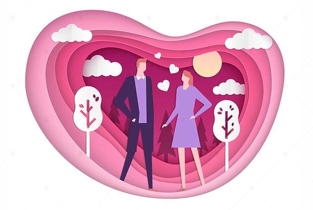 Happy Couple Heart Vector Art