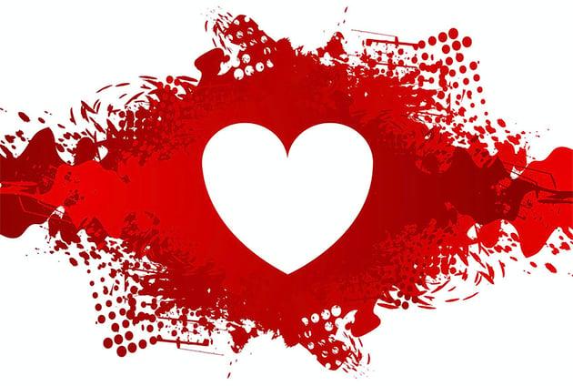 White Heart Graphic on Red Grunge Blot Background