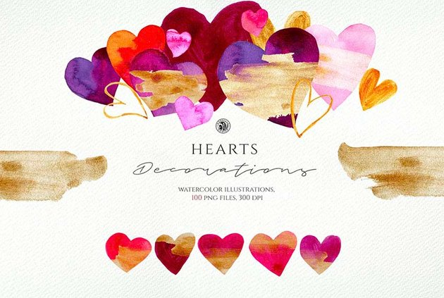Heart Graphics - Watercolor Illustrations