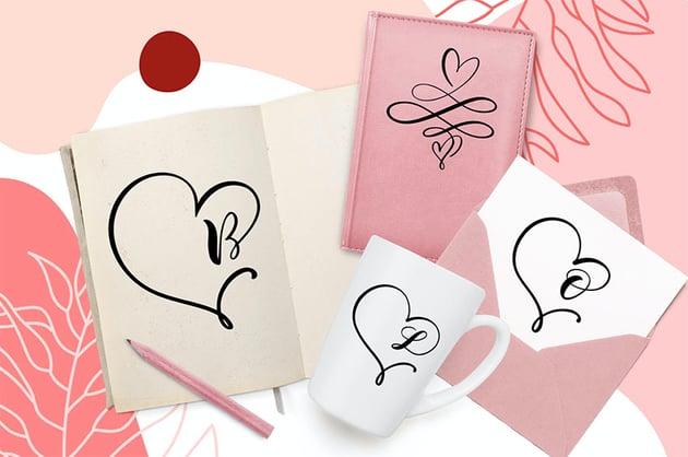 Heart Flourish - Curly Monogram Font