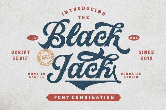 Black Jack - Vintage Script Font