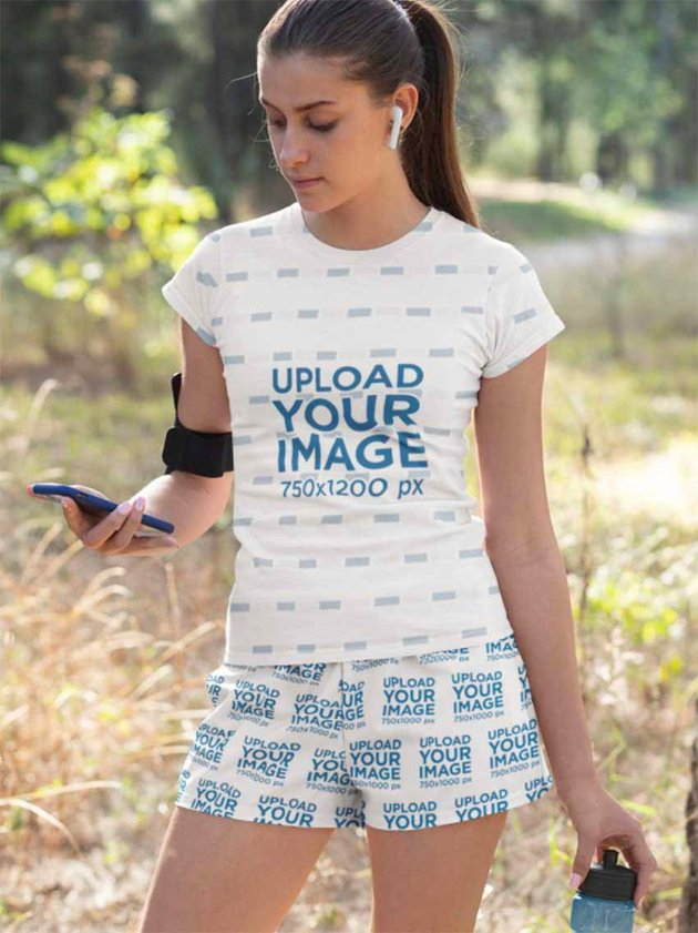 Sublimation T-Shirt Mockup Template with Shorts