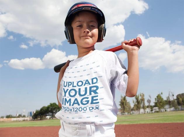 Happy Kid Posing Sublimated Baseball Jersey Mockup