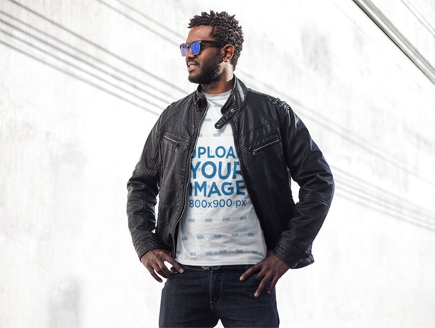 Sublimated T-shirt Mockup Featuring a Stylish Man With Sunglasses