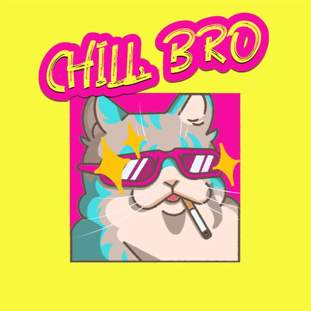 Cute Twitch Emote of a Chilled Cat Smoking