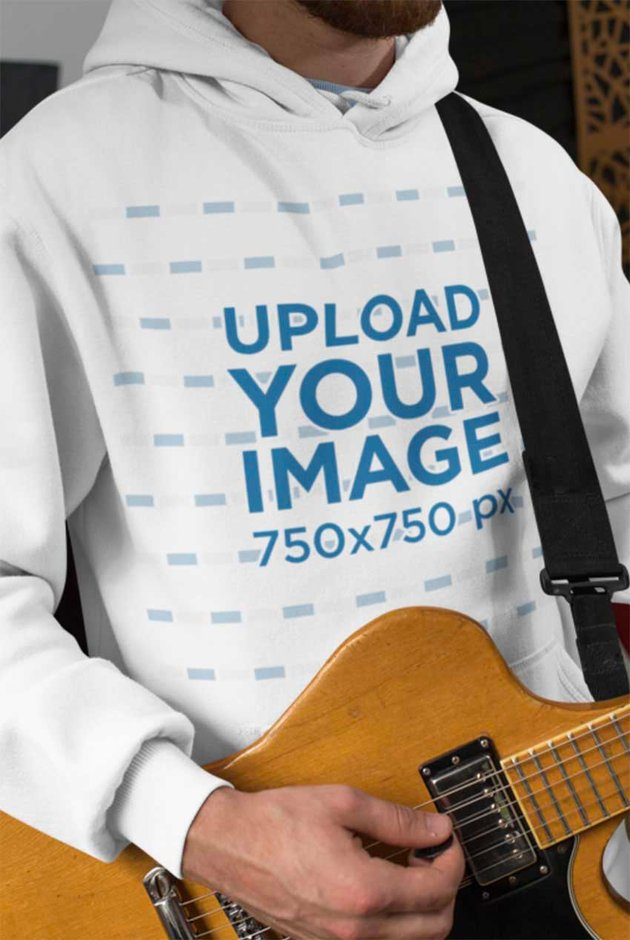 Pullover Hoodie Mockup Template of a Man Playing Guitar