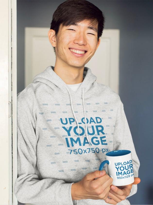 Coffee Mug Mockup with Blank Hoodie Template