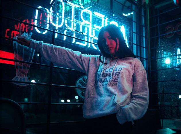 Hoodie Sweatshirt Mockup with Neon Lights