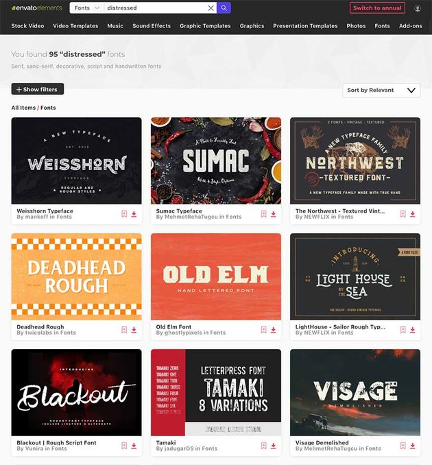 Distressed Fonts From Envato Elements
